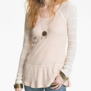 Free People Waffle Thermal with Lace Sleeves